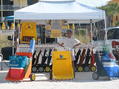 beach cart display